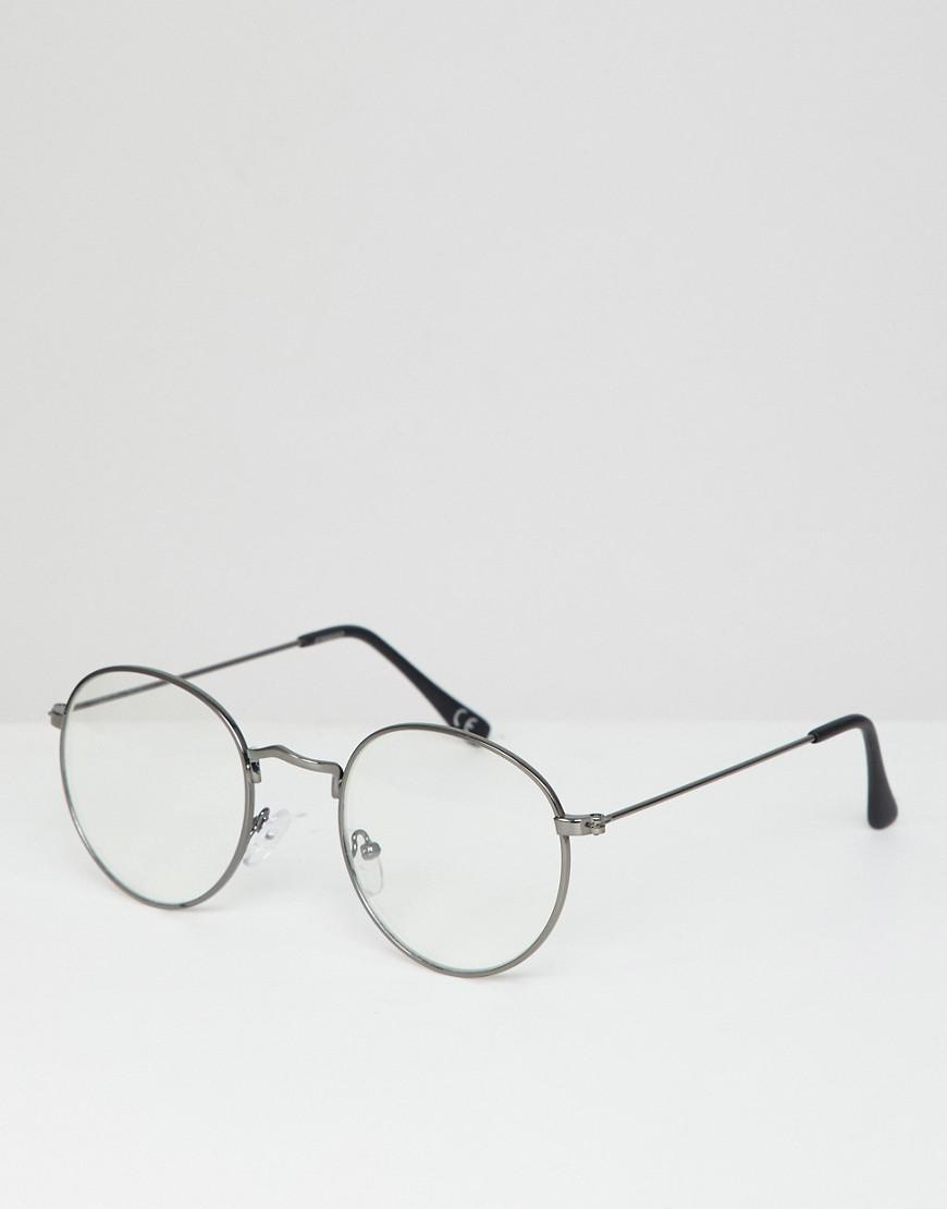 101e2216bf Lyst - ASOS Round Glasses In Gunmetal With Clear Lens in Gray for Men