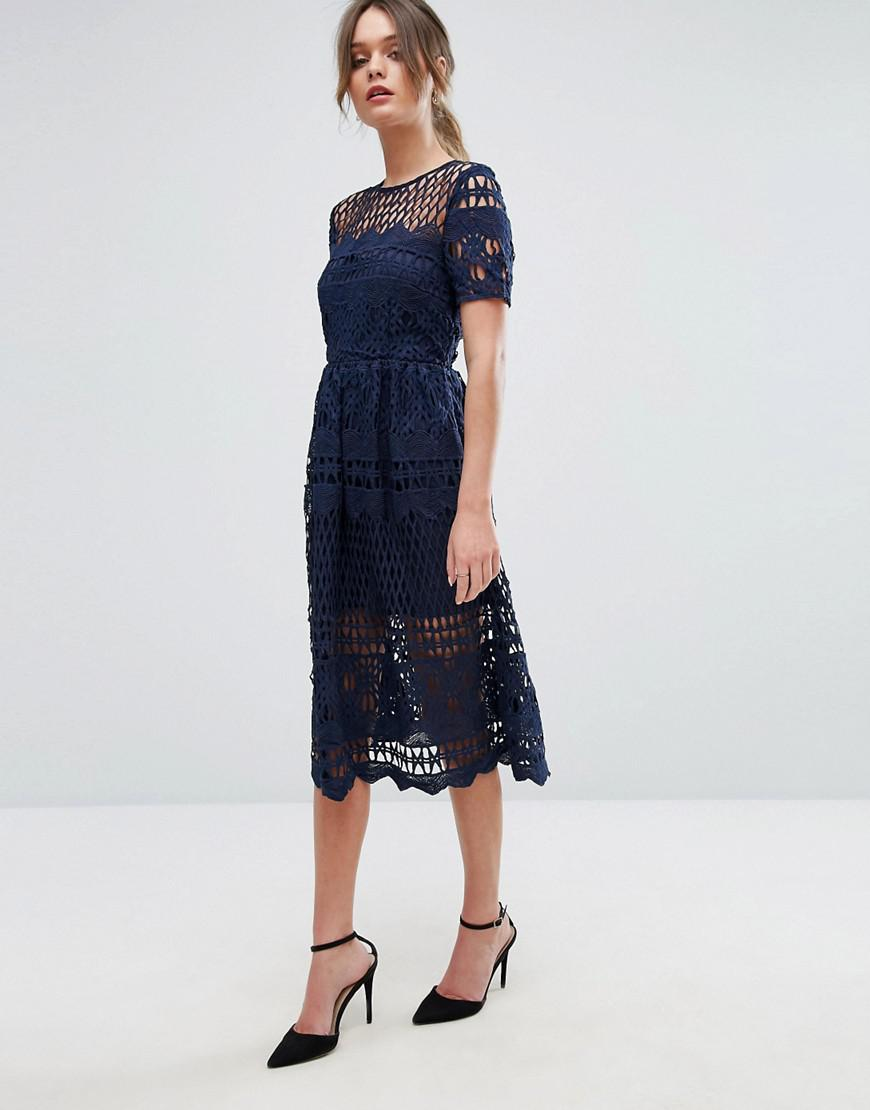 ea5161035563 Boohoo Corded Lace Paneled Skater Dress in Blue - Lyst