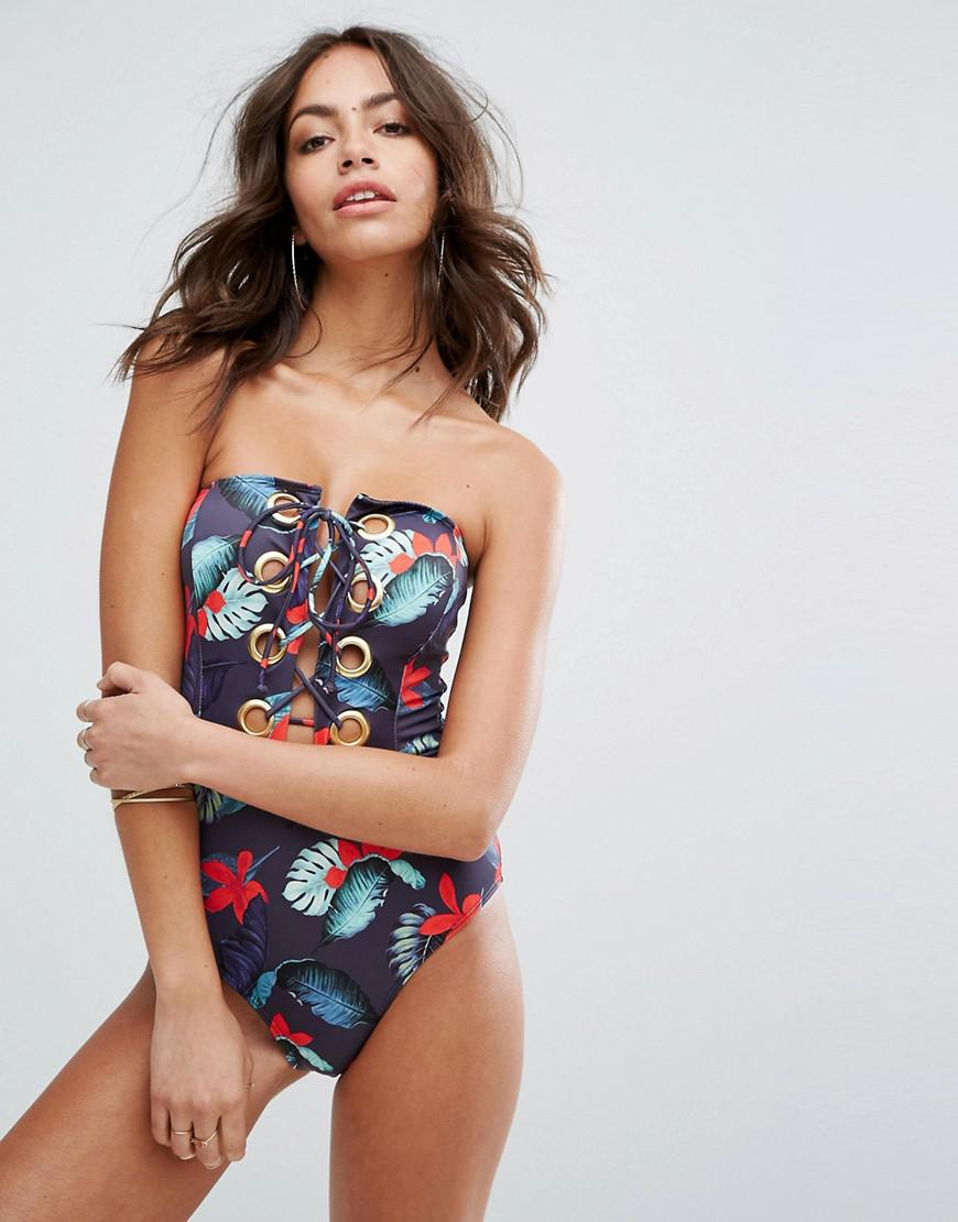 Lace-Up Floral Plunge Swimsuit - Print Missguided Cheap Sale Official RmDN9Xl