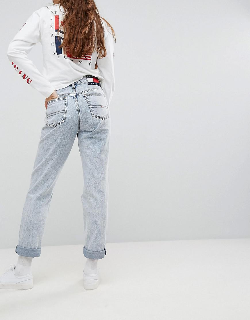 291e2c945 Tommy Hilfiger Tommy Jeans 90s Capsule Bleached Out Mom Jean in Blue ...