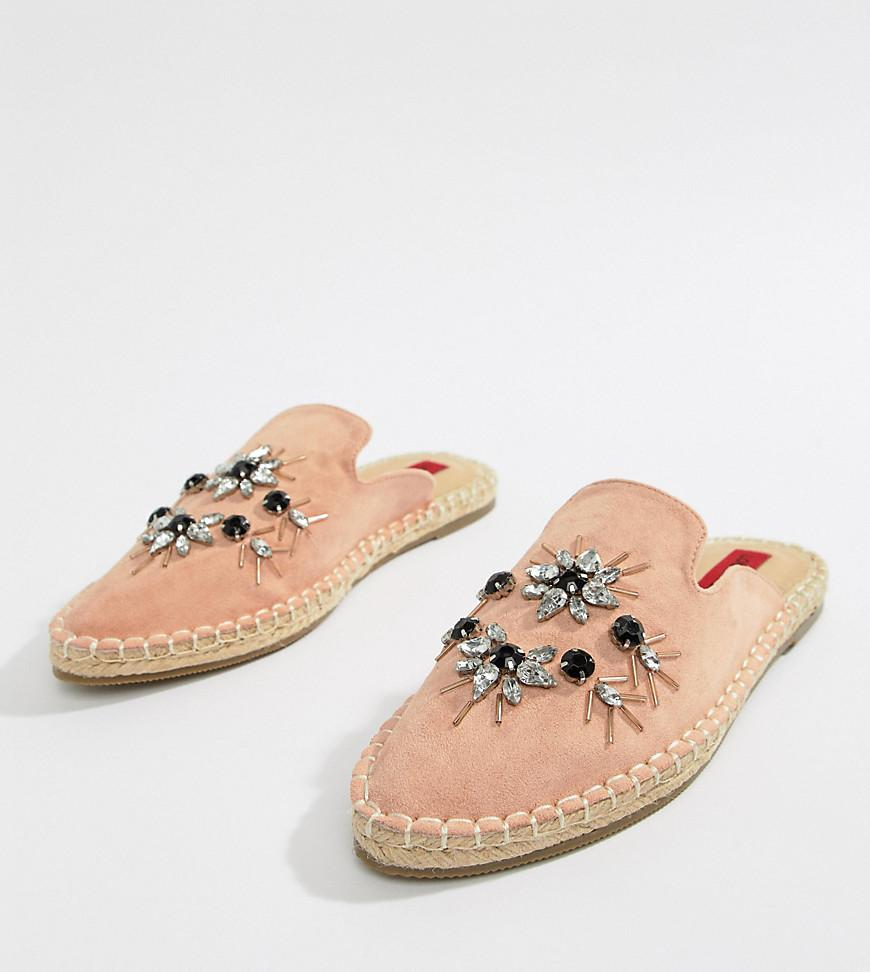 London Rebel Wide Fit Embellished Espadrille mules eT09gtt
