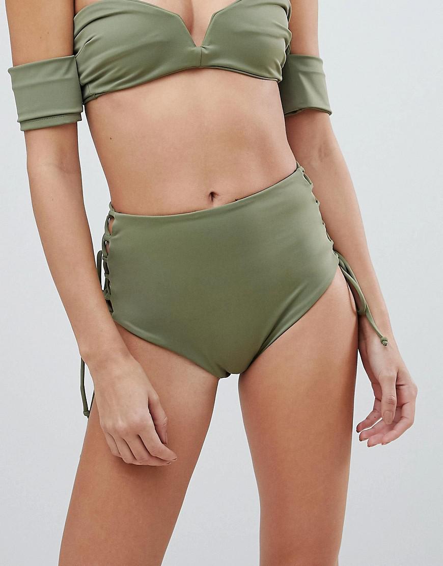 a331ef0609848 SKYE & staghorn. Women's Green Skye & Staghorn High Waisted Stripe Lace Up Bikini  Bottom