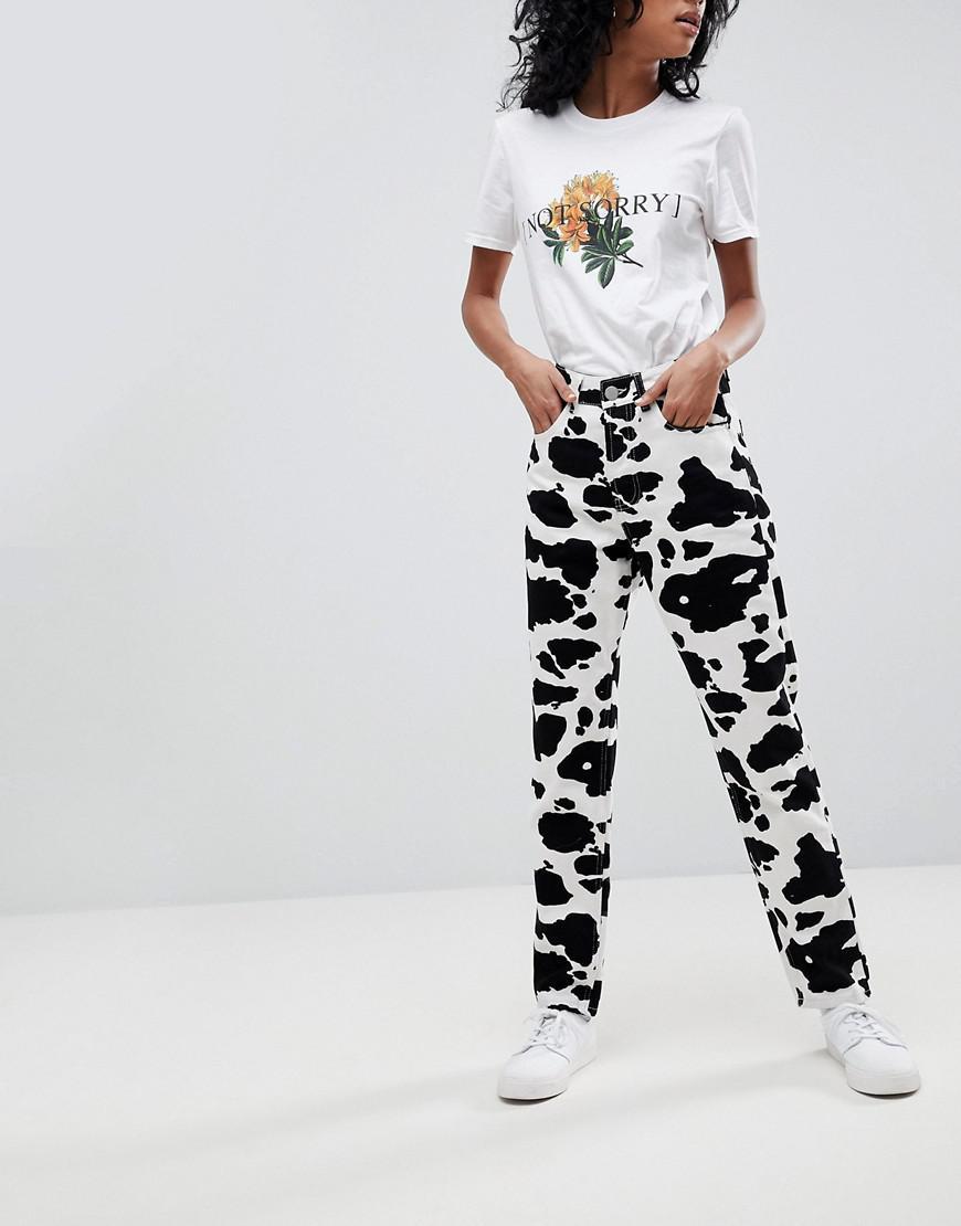 533f129ca6de ASOS Original Mom Jeans In Mono Cow Print - Lyst