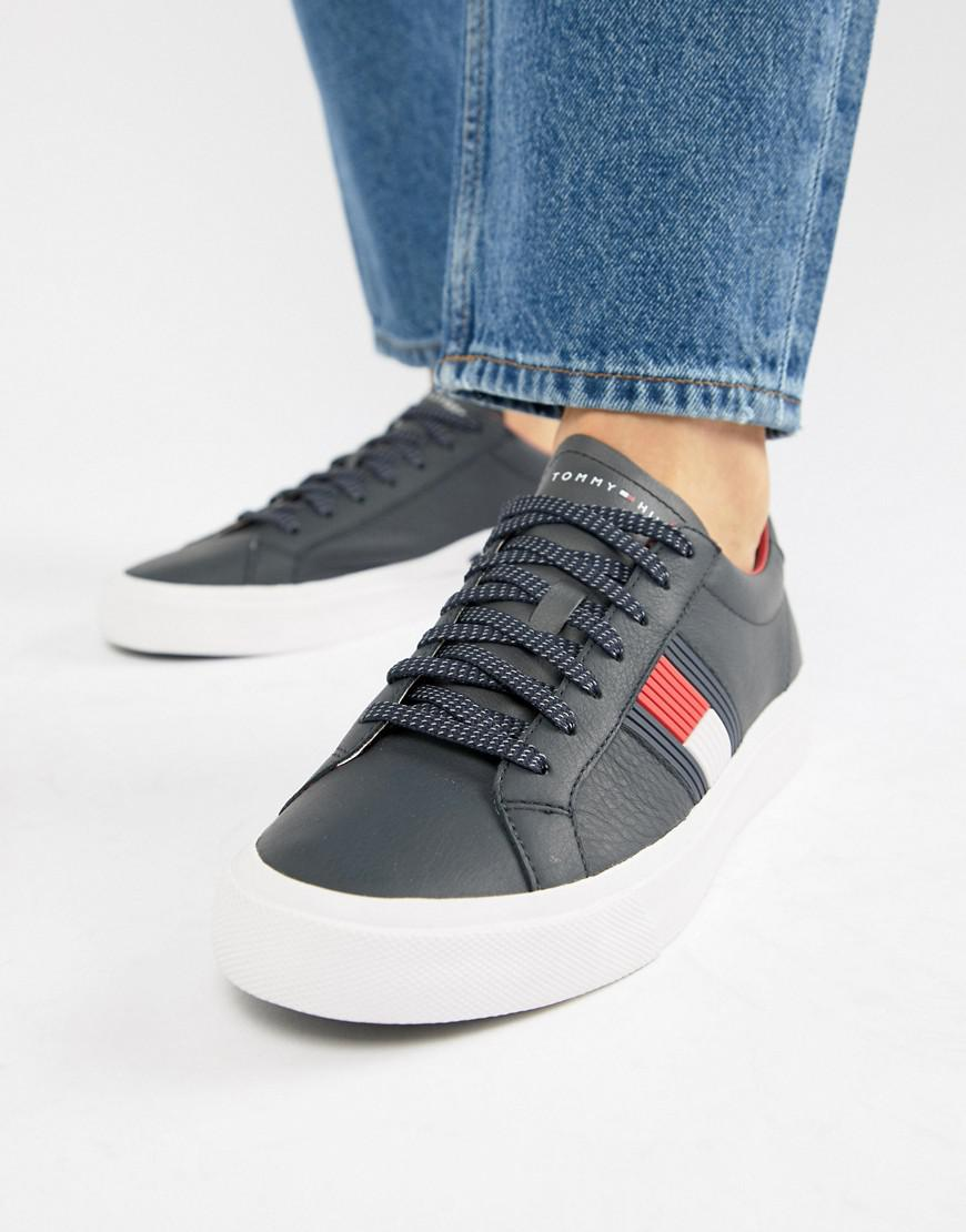 09f313b46f538a Tommy Hilfiger Flag Detail Leather Sneaker In Navy in Blue for Men ...