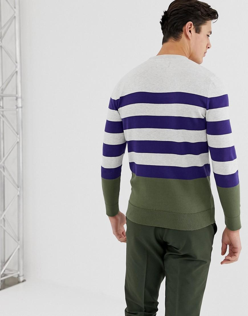 18c413d4315 Barbour Copinsay Striped Crew Neck Knitted Jumper In Navy in Blue ...