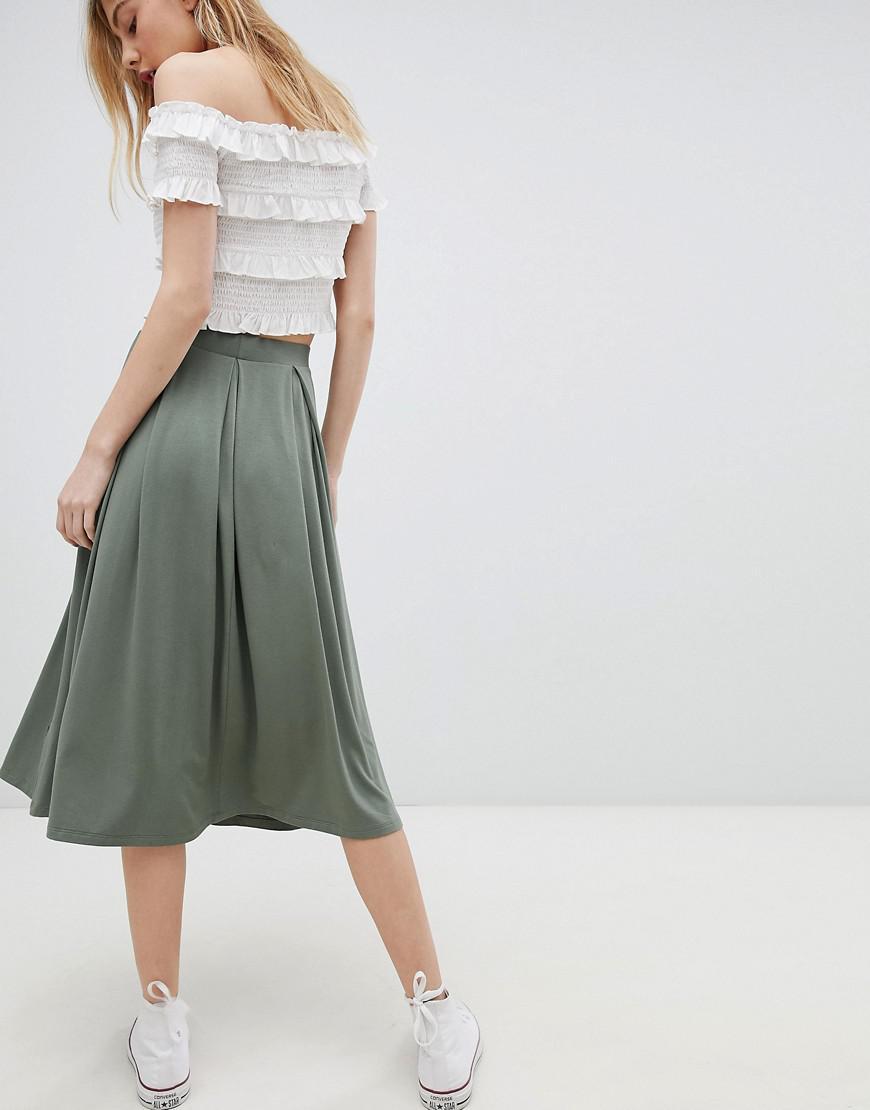 e0609ce62277 Asos Midi Skirt With Box Pleats