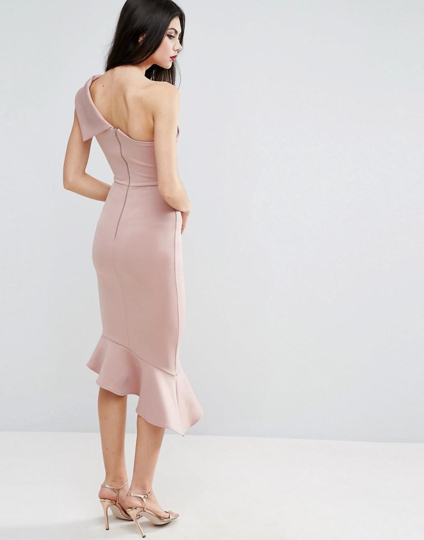 132b7555bd66 Lyst - ASOS Scuba One Shoulder Peplum Midi Dress in Pink