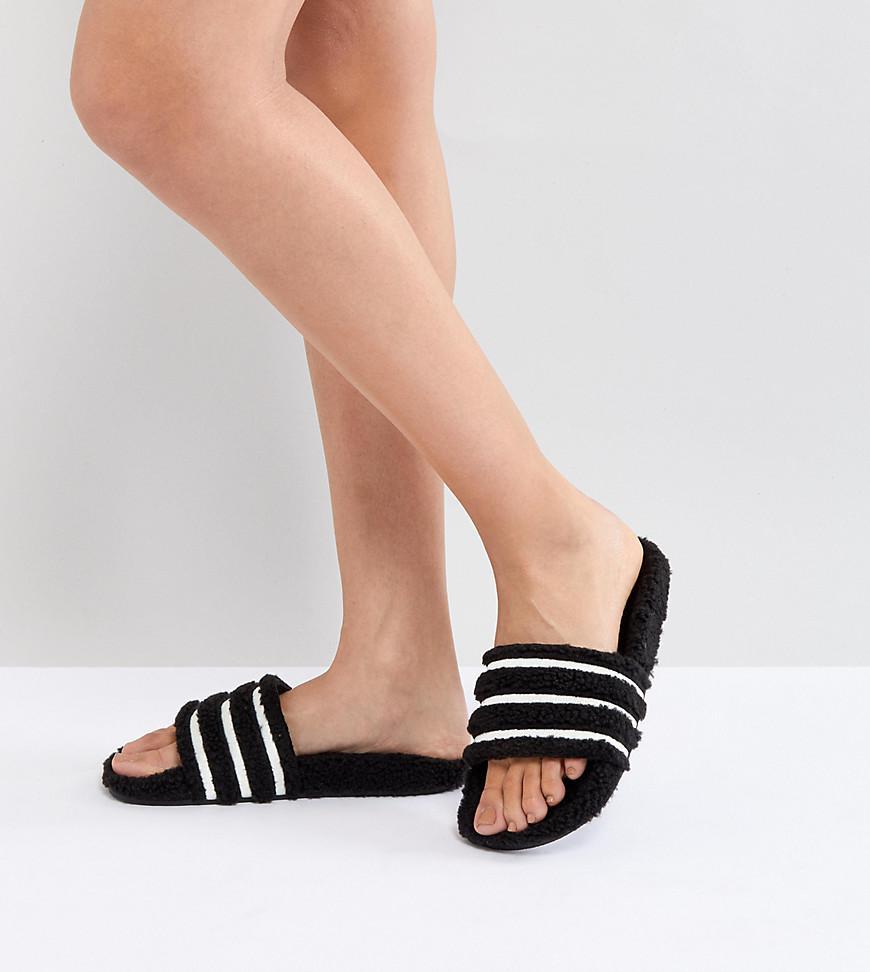 4ecb1a8c7 Lyst - adidas Originals Adilette Furry Slider Sandals In Black in Brown