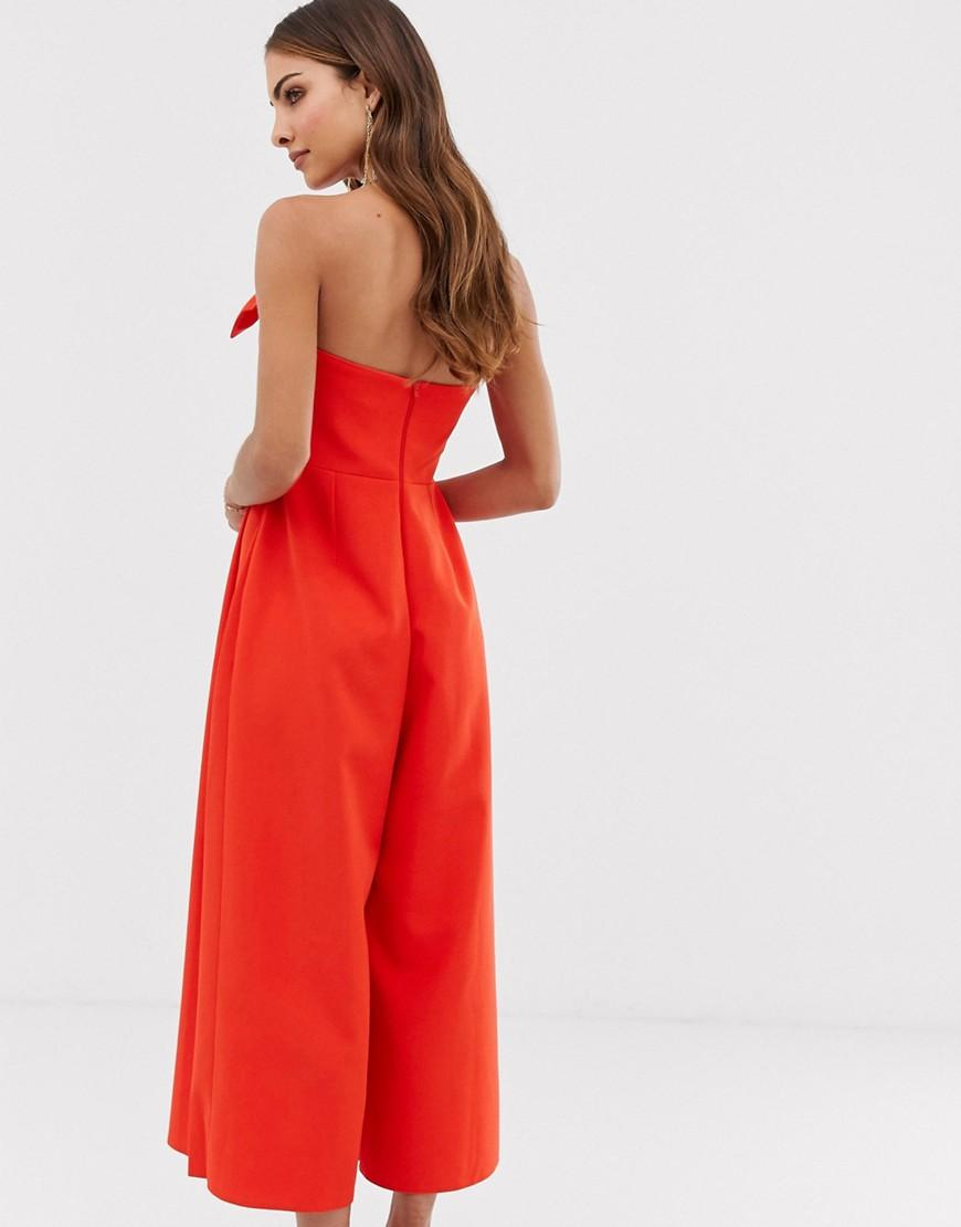 9373f59d6852 ASOS Bandeau Culotte Jumpsuit With Big Bow Detail in Red - Lyst