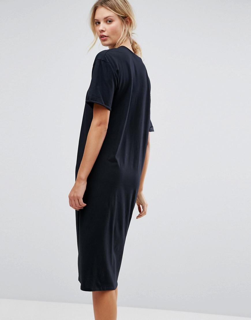 d4070a8751f ASOS Ultimate Midi T-shirt Dress With Rolled Sleeves in Black - Lyst