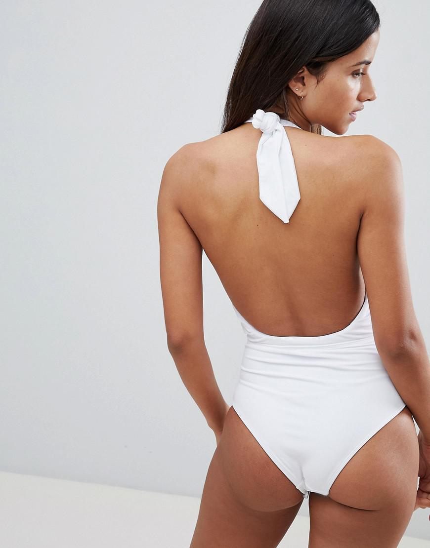 f0bbadd0621 ASOS Gold Chain Eyelet Detail Plunge Halter Swimsuit in White - Lyst