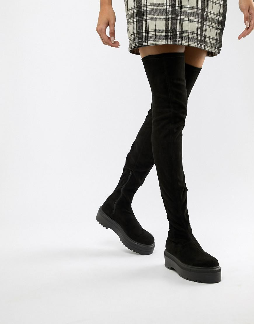 fb03fa871a1 ASOS Kami Flat Chunky Thigh High Boots in Black - Lyst