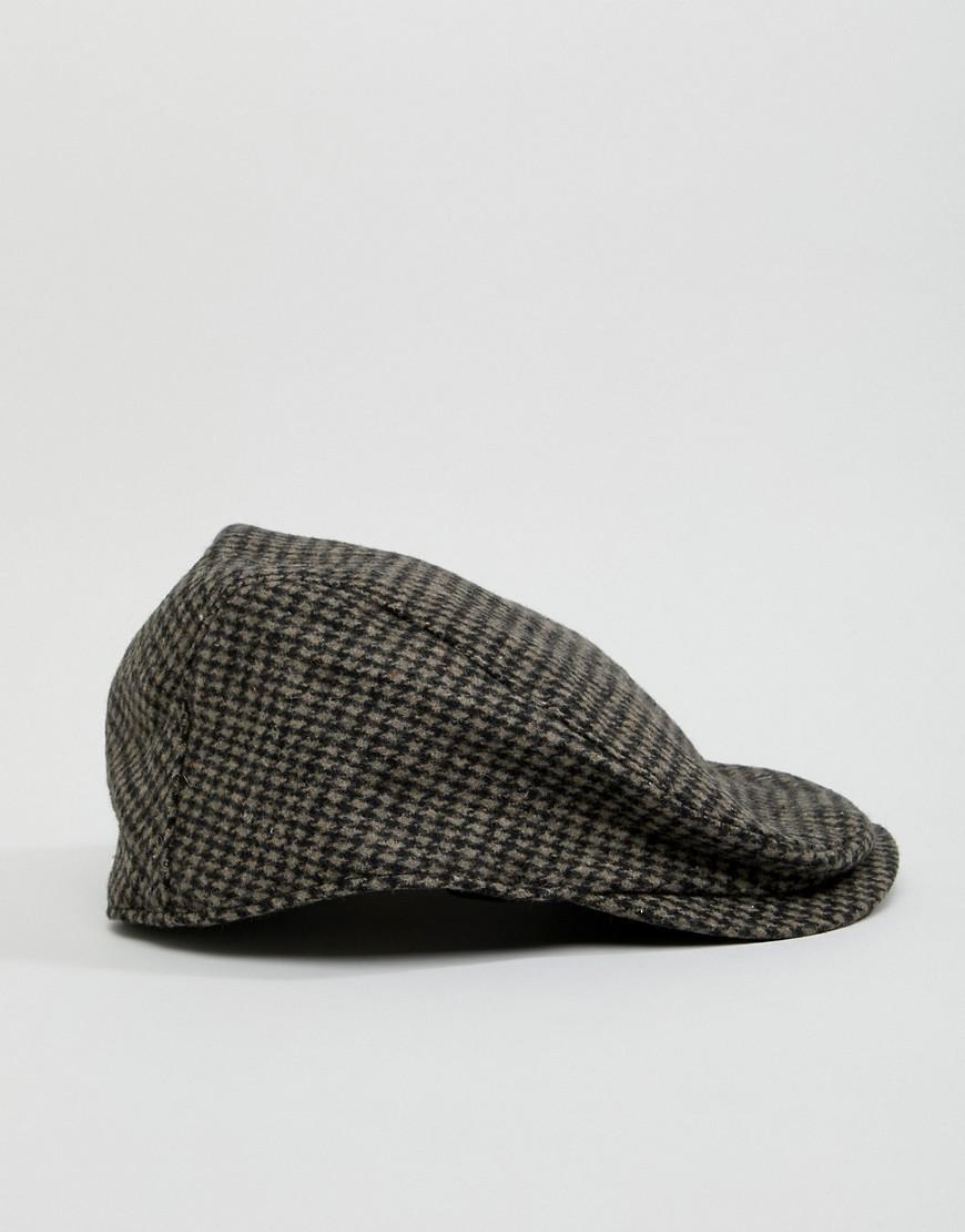 Lyst - ASOS Flat Cap In Gray Houndstooth in Gray for Men 3f88af271030