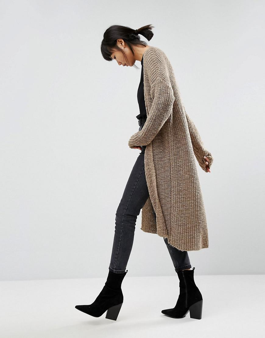 Asos Chunky Cardigan In Maxi Length in Natural | Lyst