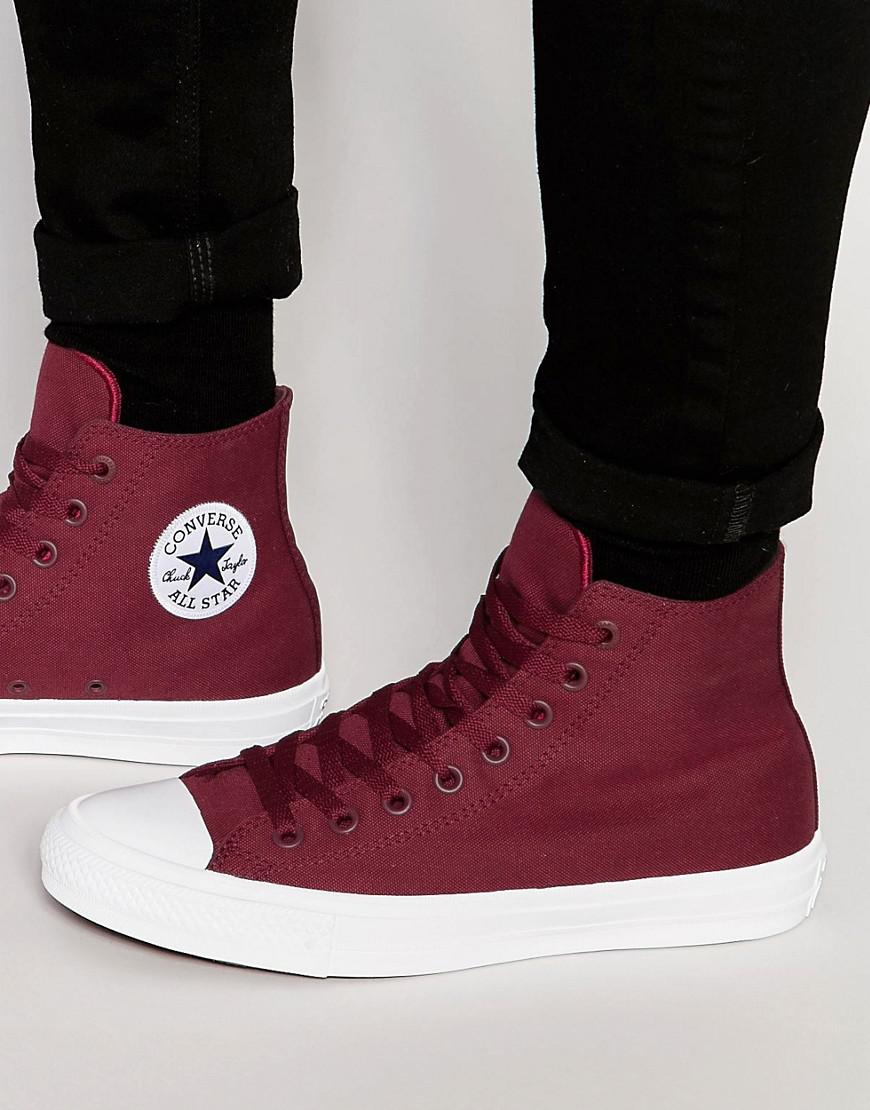 Converse Mens Chuck Taylor All Star Ii Hitop Plimsolls In Red 150144c