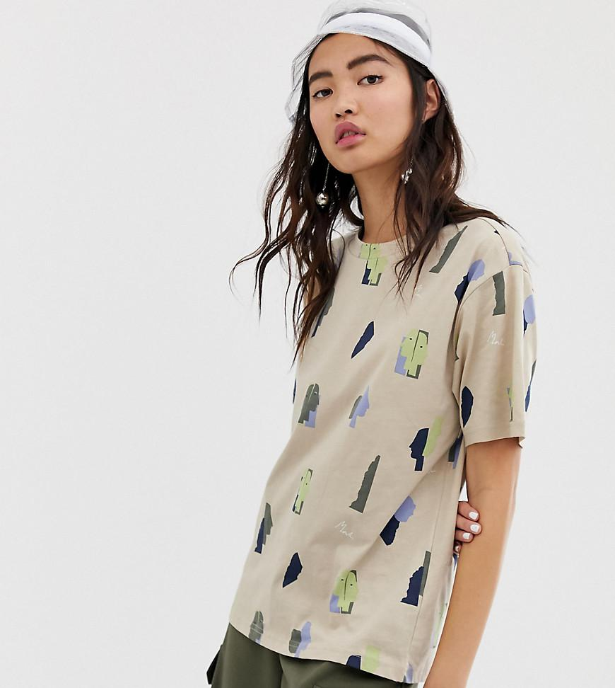 3fdb0c1982a Monki Face Print Oversized T-shirt In Beige in Natural - Lyst