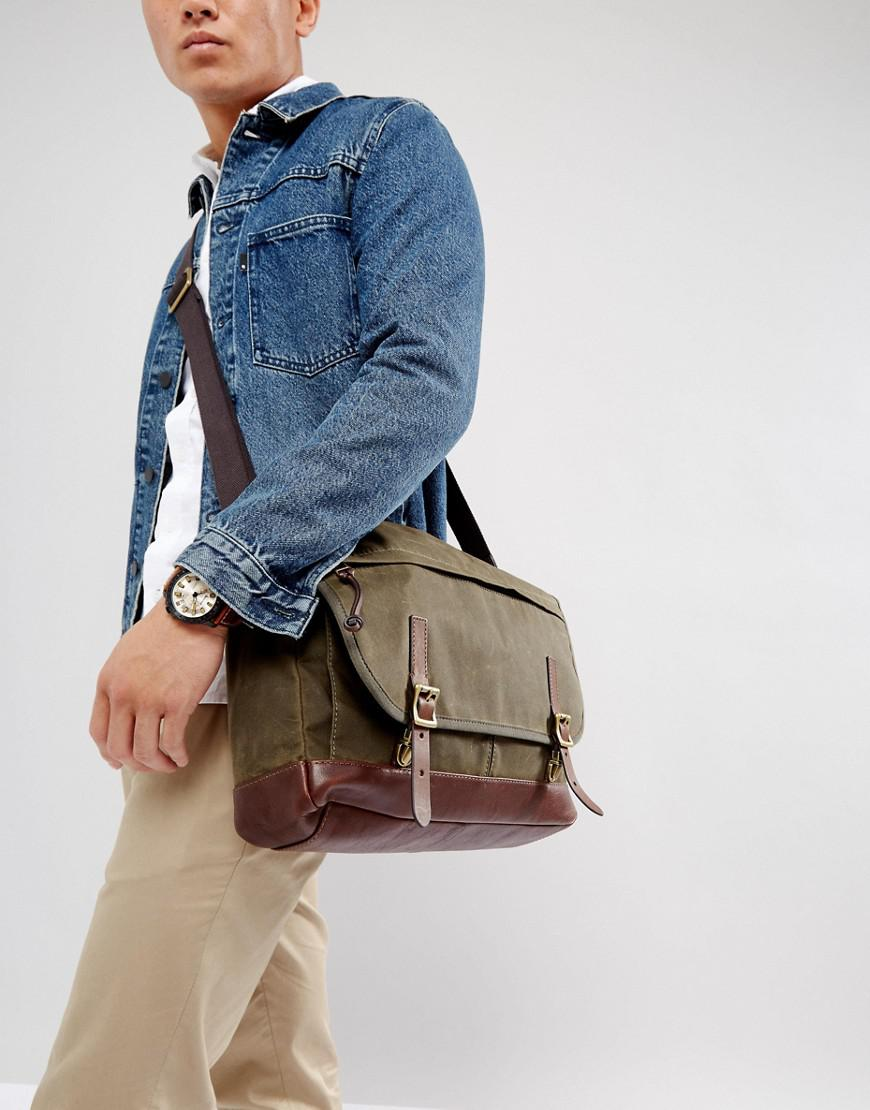 19a5925408 Lyst - Fossil Defender Messenger Bag In Waxed Canvas in Green for Men