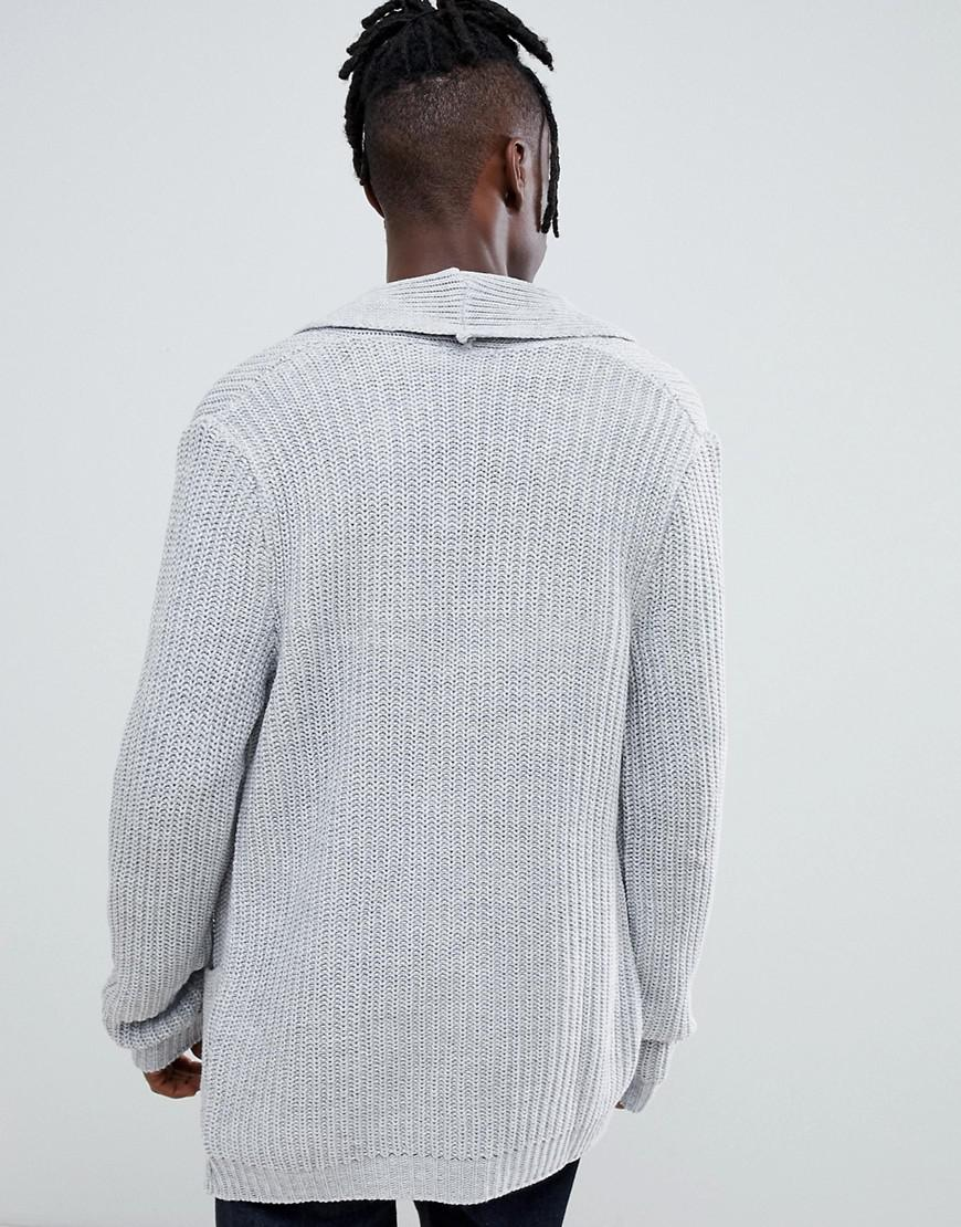 884680f98fb Lyst - ASOS Knitted Cardigan In Pale Gray in Gray for Men