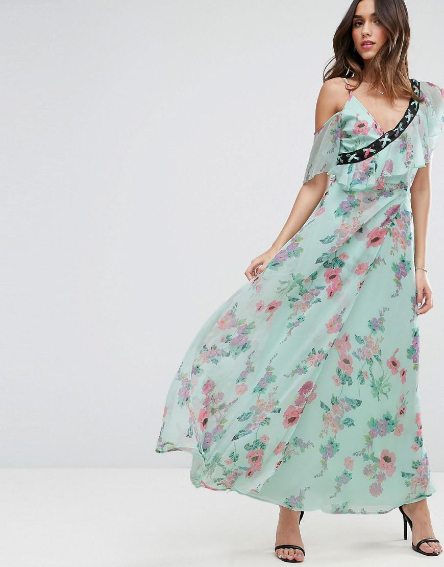 Lyst - Asos Floral Maxi Tea Dress With Lace Up Detail in Blue