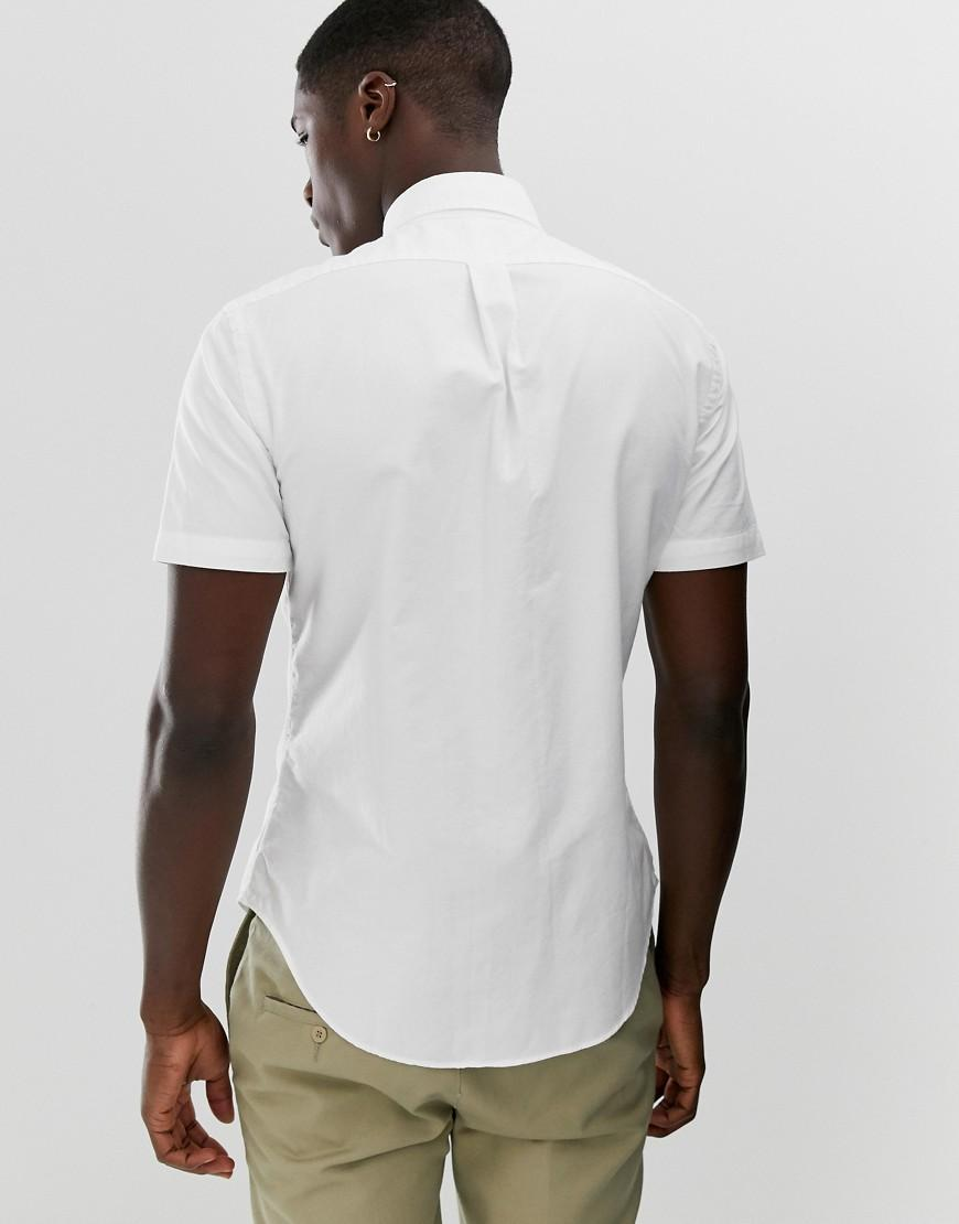 4de56fba Polo Ralph Lauren Short Sleeve Slim Fit Garment Dyed Shirt With Button Down  Collar In White in White for Men - Lyst