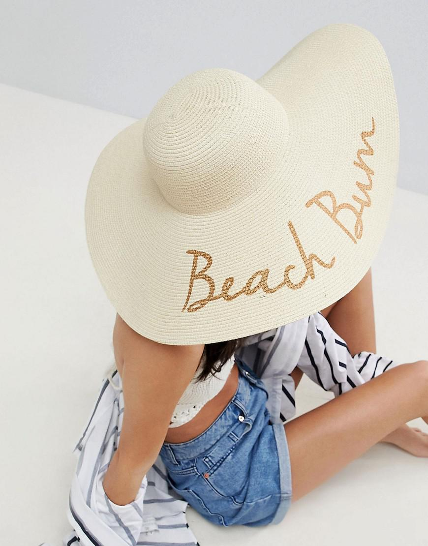 0cec521faf2 Lyst - ASOS Asos Straw Floppy Hat With Slogan And Size Adjuster in ...