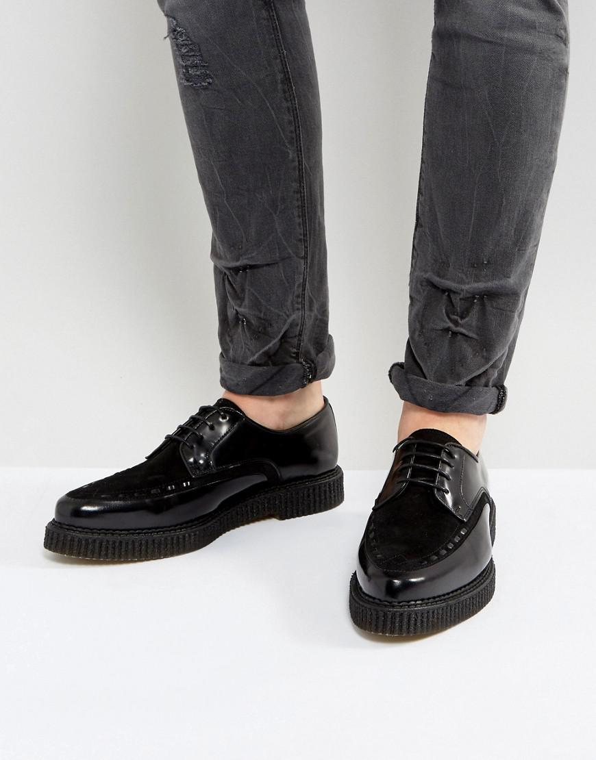 ASOS Lace Up Creeper Shoes In Black Faux Suede excellent online 9Bpqa