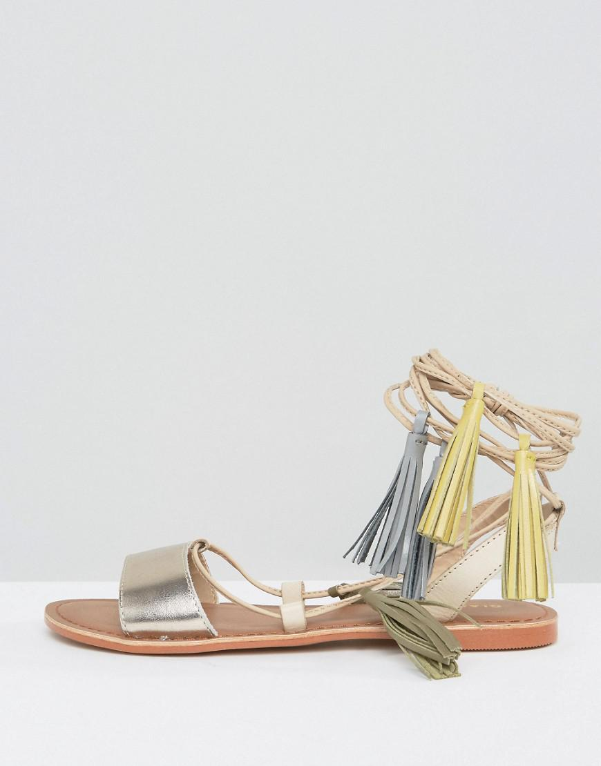 8c6a80283802 Glamorous Rose Gold Leather Tassle Tie Up Flat Sandals in Metallic ...