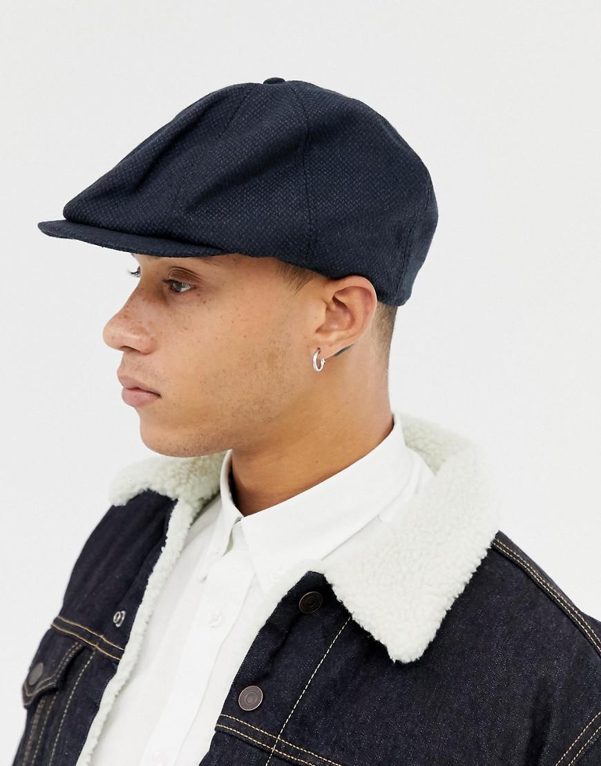 e3b7f1584de Lyst - ASOS Baker Boy Hat In Navy Texture in Blue for Men