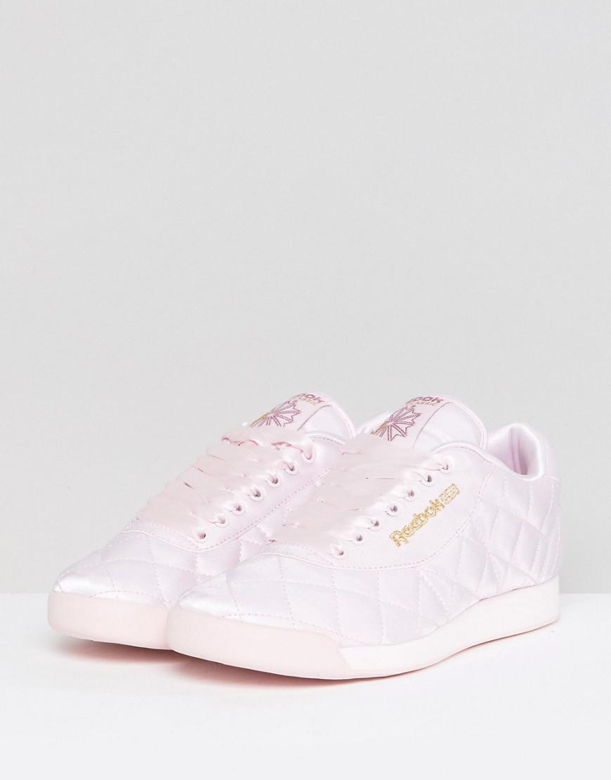4036002c11f Lyst - ASOS White X Reebok Princess Sneakers In Quilted Satin in Pink