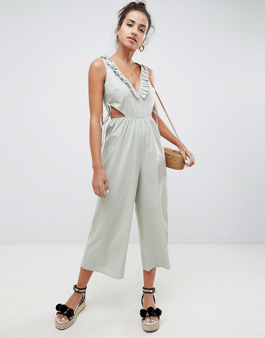 822fe662ce7 ASOS Tea Jumpsuit In Cotton With Tie And Cut Out Detail in Blue - Lyst
