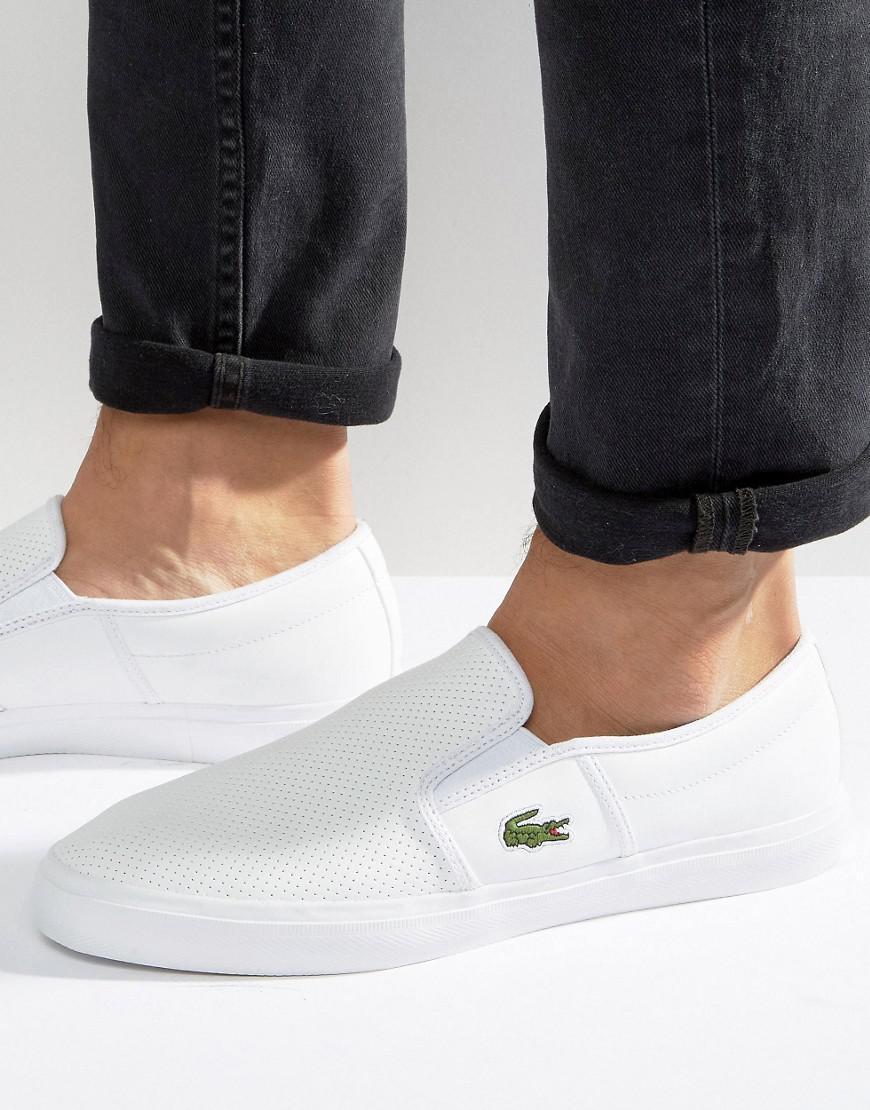 cbed7f265d7e1 Lacoste Gazon Leather Slip On Plimsolls in White for Men - Lyst