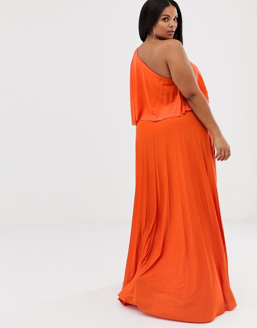 731d5bbf798 ASOS Asos Design Curve One Shoulder Pleated Crop Top Maxi Dress in Orange -  Lyst