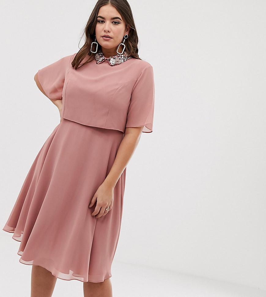d63bb88a56d51f ASOS. Women s Pink Asos Design Curve Midi Dress With Crop Top And 3d  Embellished Collar