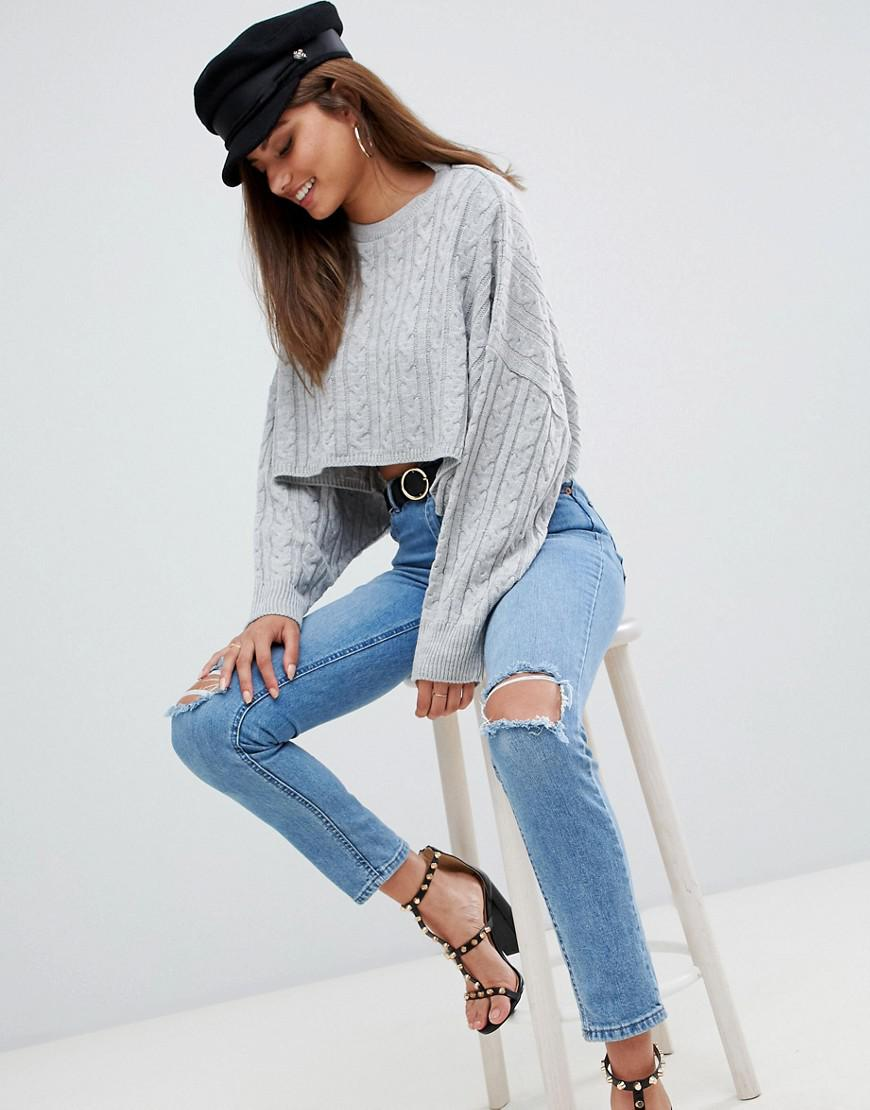 307d6fc701b AX Paris Cable Knit Cropped Jumper in Gray - Lyst