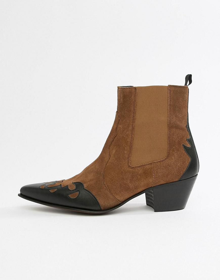 Asos Cuban Heel Western Chelsea Boots In Tan Suede And Leather Mix ... de36b64baa46