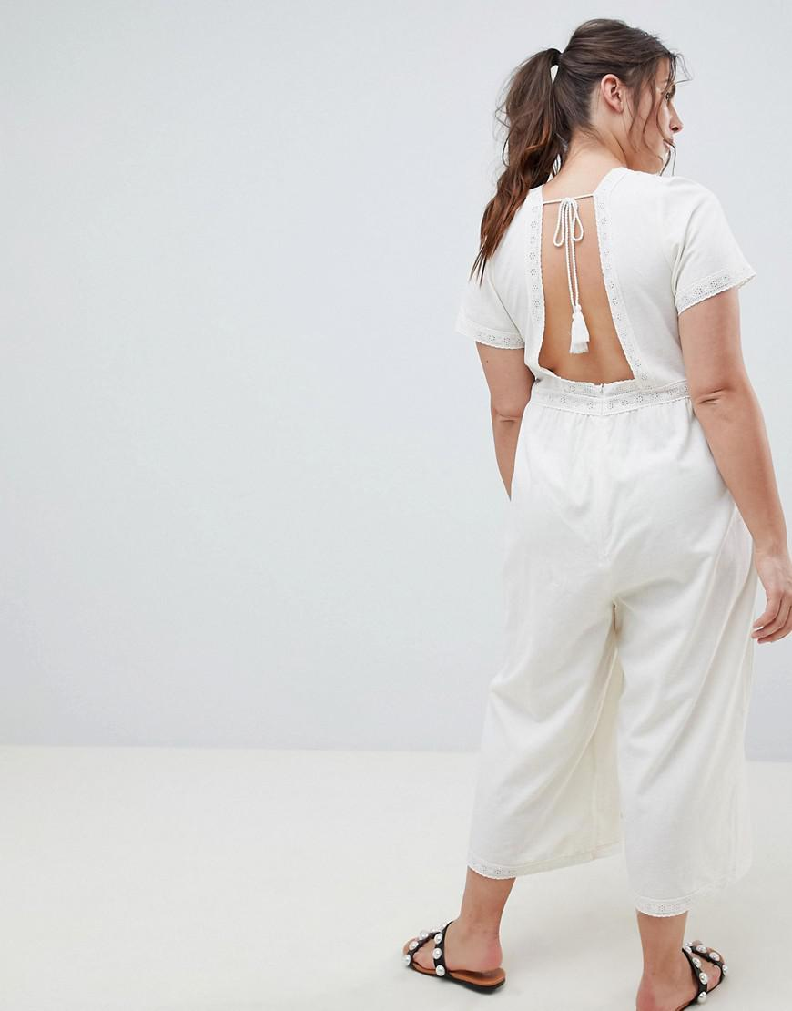 fc3214f8fd06 Lyst - ASOS Asos Design Curve Cotton Embroidered Jumpsuit With Tassel Trim  in White