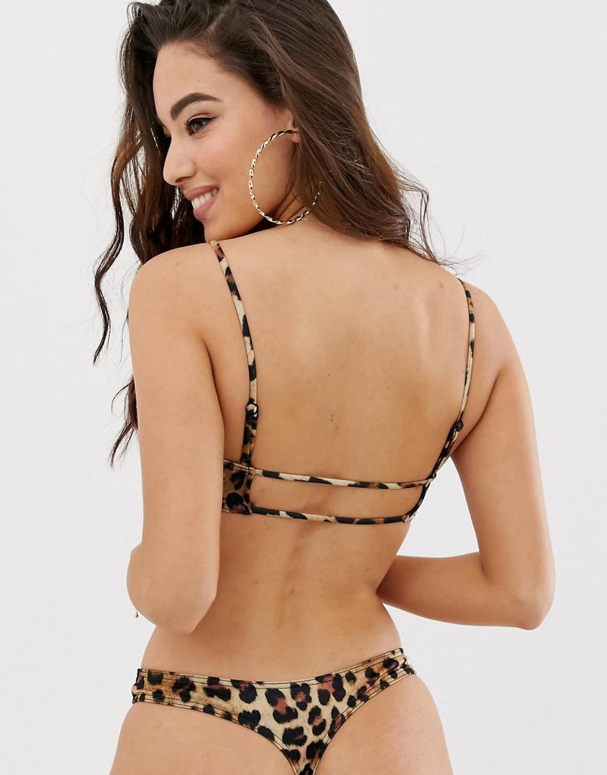 4b13b44c136d0 ASOS Recycled Mix And Match Strappy Back Crop Bikini Top In Leopard Print  in Brown - Lyst
