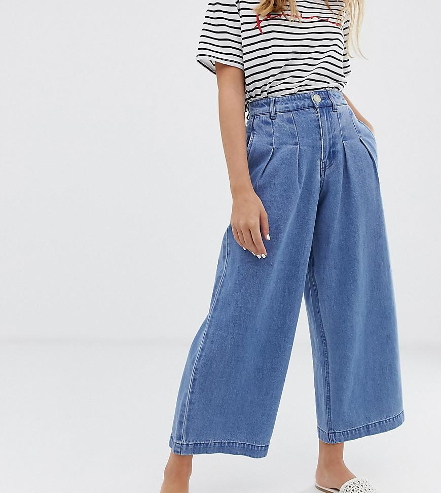 a6bd58446 Vero Moda Highwaisted Cropped Wide Leg Jean in Blue - Lyst