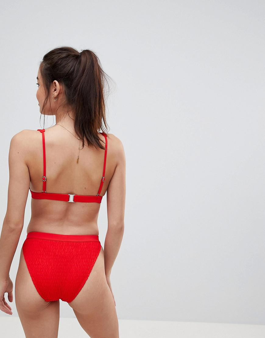 9b34d98251c79 South Beach Crinkle High Leg Bikini Bottom in Red - Lyst