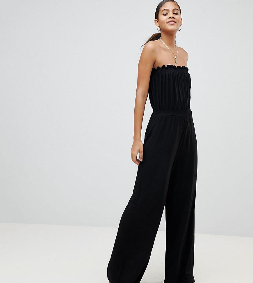 27ed236b2550 ASOS. Women s Black Asos Design Tall Bandeau Jersey Jumpsuit With Wide Leg
