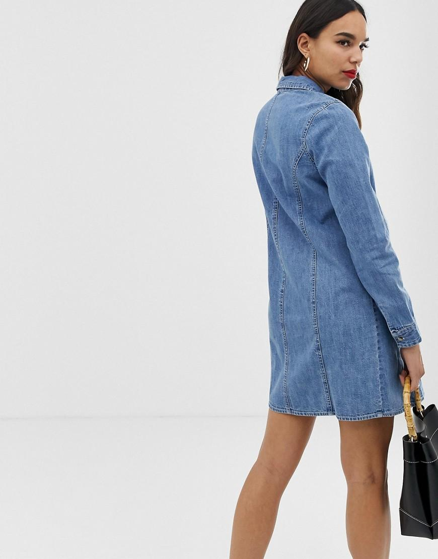 54b410da2a Lyst - ASOS Asos Design Maternity Denim Fitted Western Shirt Dress In Midwash  Blue in Blue