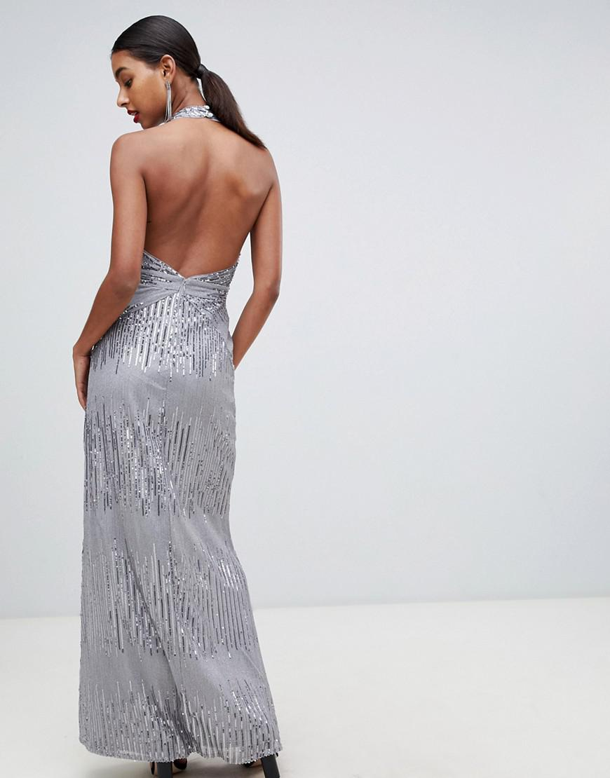 15a724958e9a TFNC London Sequin Maxi Dress With Open Back In Silver in Metallic - Lyst