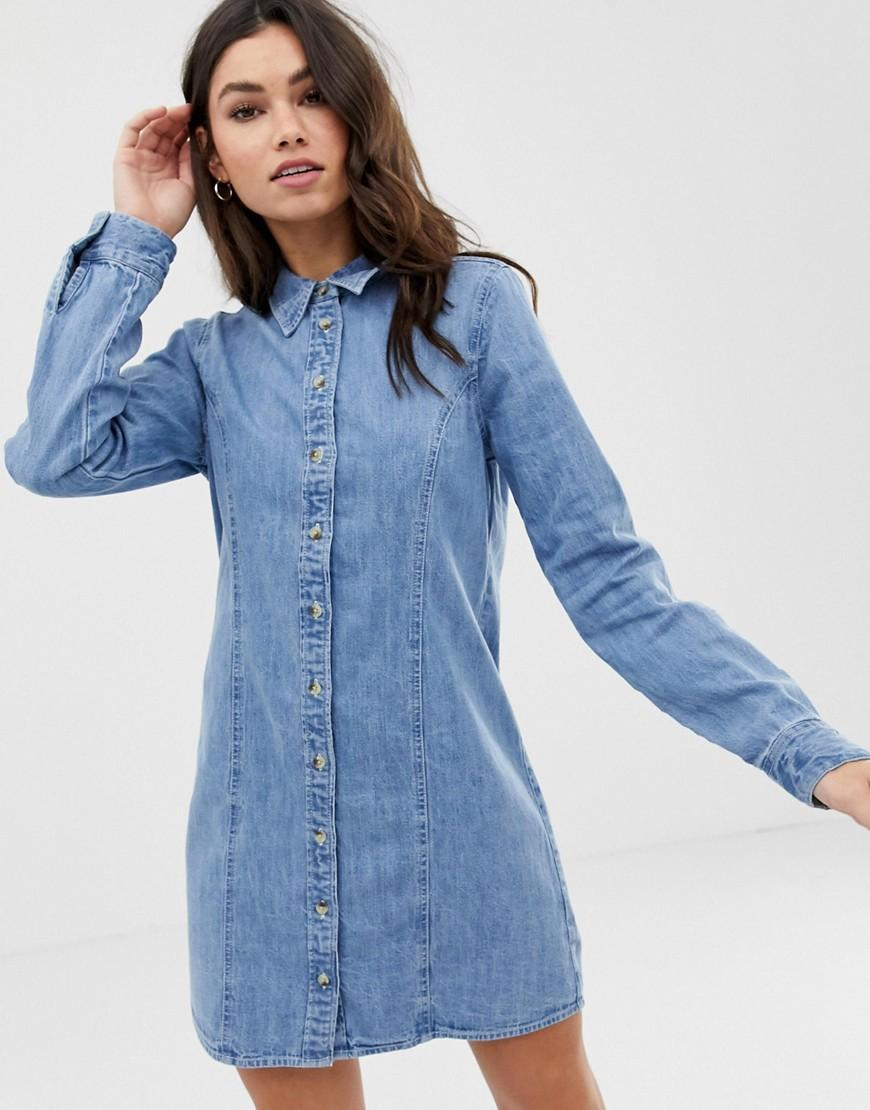 e358308484b Lyst - ASOS Denim Fitted Western Shirt Dress In Midwash Blue in Blue