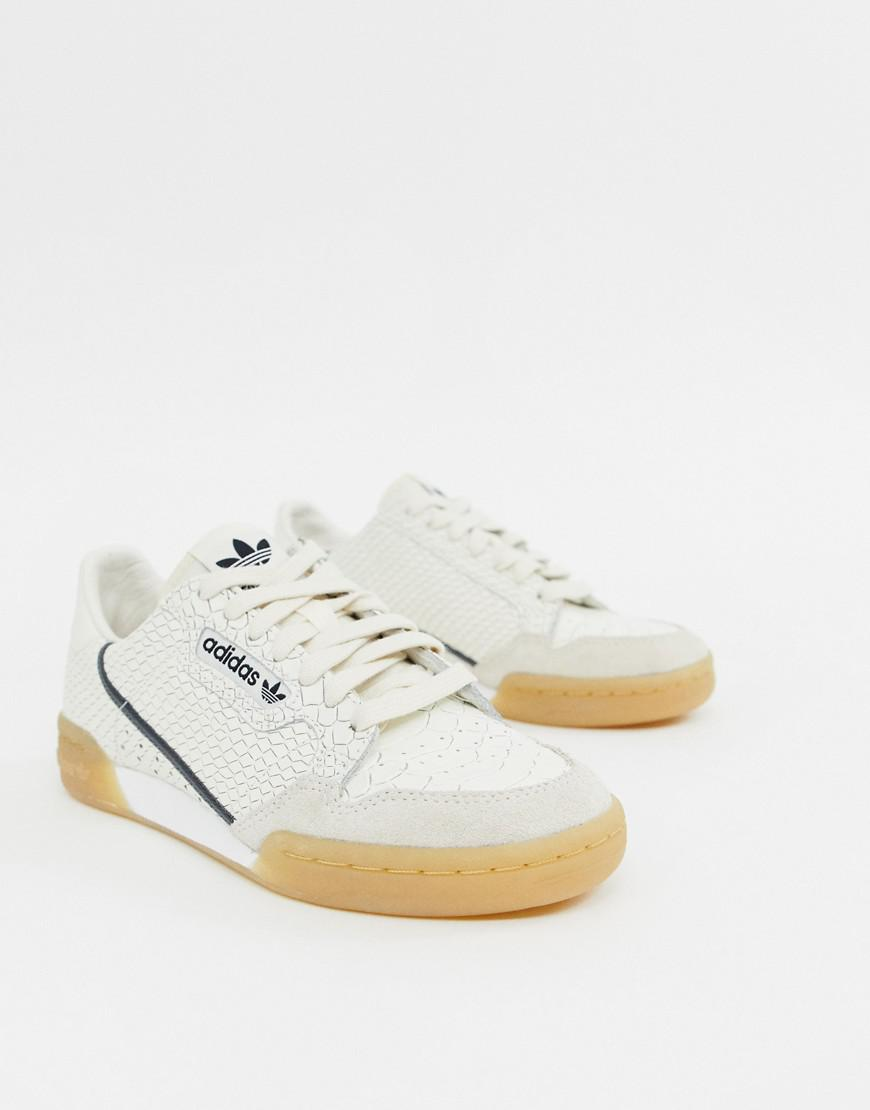 18437ed6c8f77 Lyst - adidas Originals Continental 80 Sneakers In White Snakeskin ...