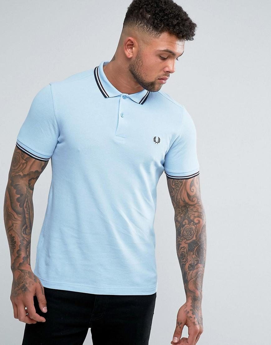5e17b050 Lyst - Fred Perry Slim Fit Twin Tipped Polo Shirt Blue in Blue for Men