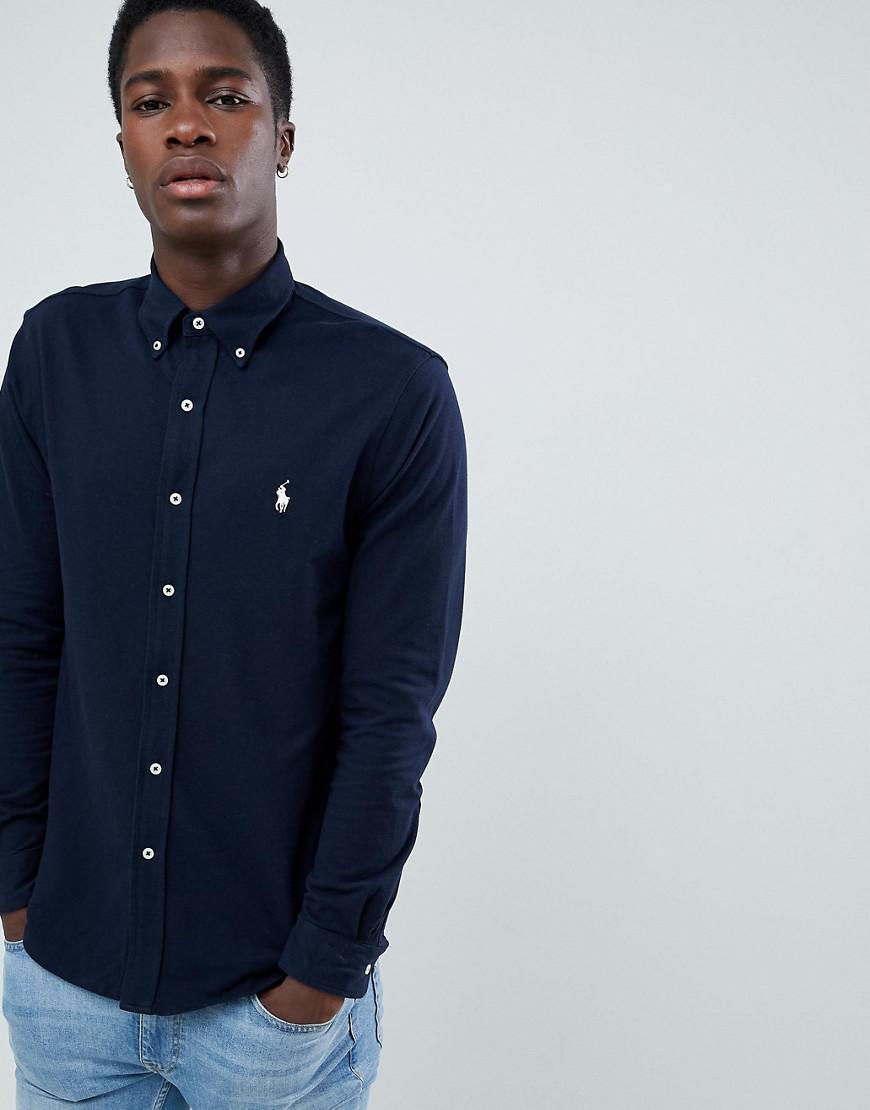 dbe39552c Polo Ralph Lauren. Men's Blue Slim Fit Pique Shirt Player Logo Button Down  In Navy