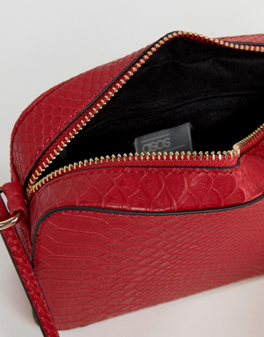 c6d38ffef2f1 Lyst - ASOS Snake Effect Cross Body Camera Bag in Red