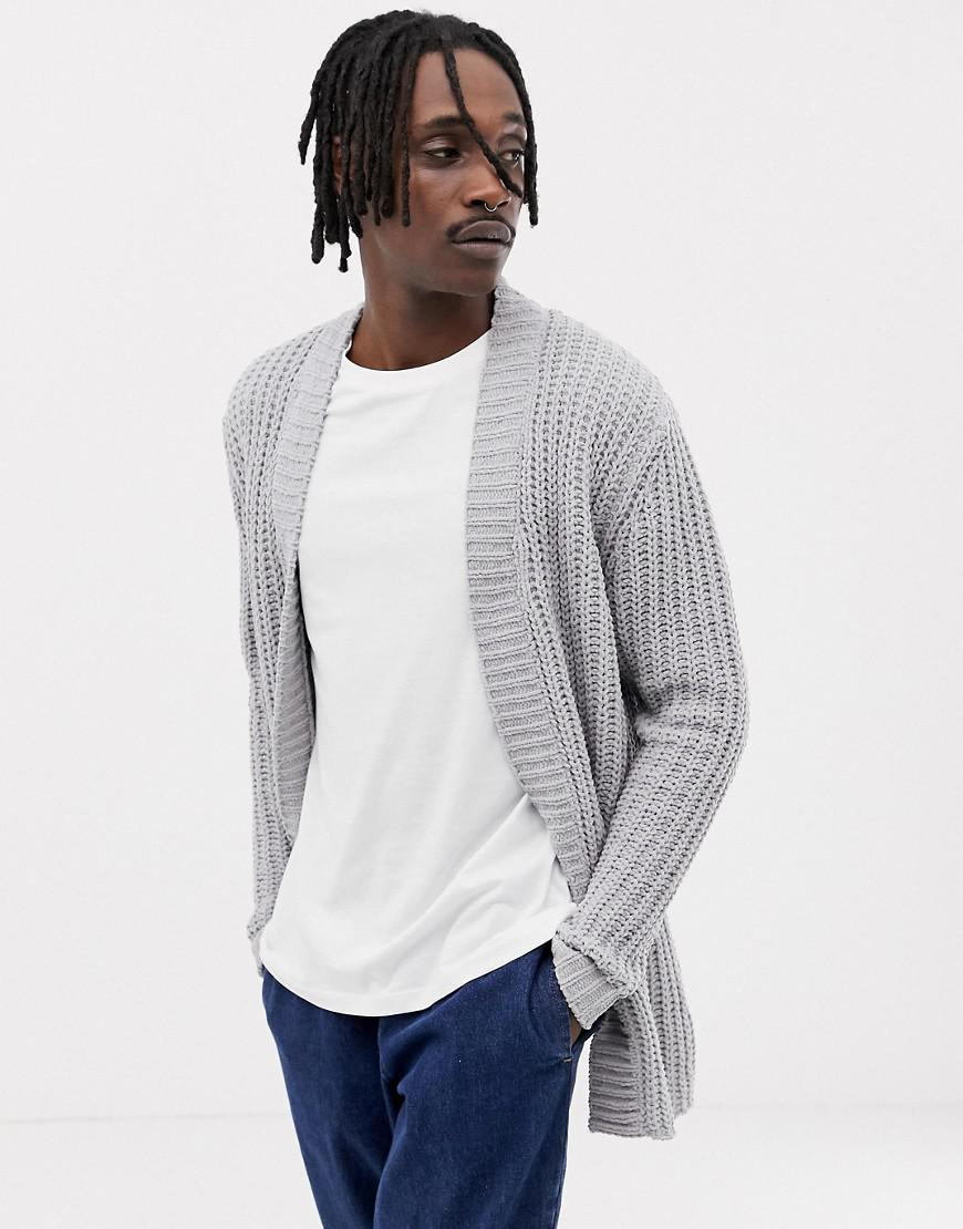 bfb94c26dec Lyst - ASOS Heavyweight Chenille Cardigan In Pale Gray in Gray for Men