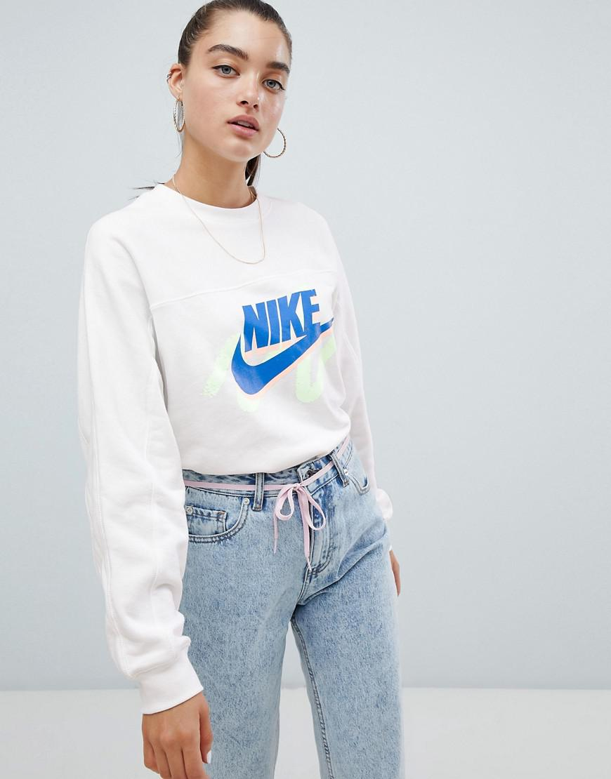 959f7d9e217a0 Nike Archive White Scribble Logo Sweatshirt in White - Lyst