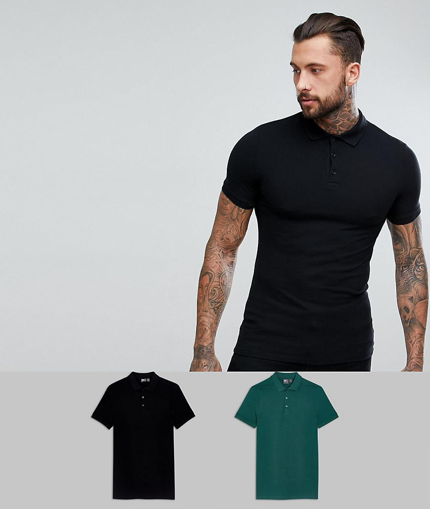 DESIGN 2 Pack Muscle Fit Polo In Tan/ Black Save - Multi Asos Clearance Shopping Online Best Sale Sale Online yBGal
